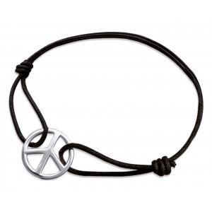 """Bracelet homme cordon noir  """"peace and love"""""""