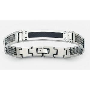 Bracelet homme acier, cable et résine