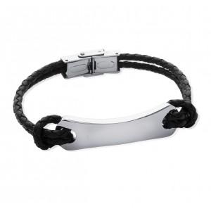 Bracelet homme gravé en cuir tressé et acier
