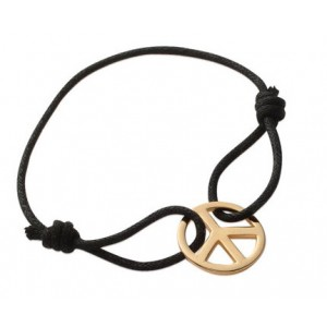 "Bracelet homme cordon noir  ""peace and love"" en plaqué or"