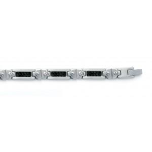 Bracelet pour homme en acier et carbone