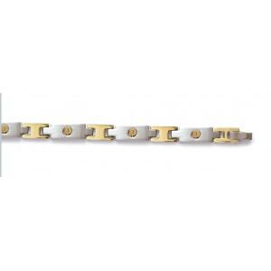 Bracelet homme en acier mat et en plaqué or