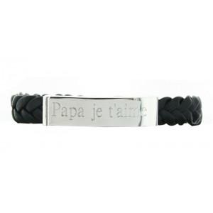 Bracelet homme gravé en acier et cuir tressé