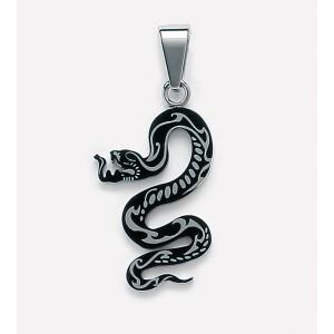 Pendentif Homme  forme Serpent en Acier et Resine noire