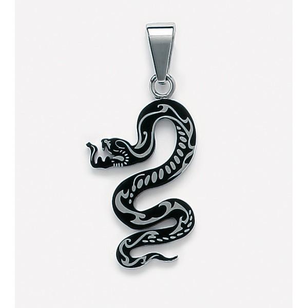pendentif homme forme serpent en acier et resine noire. Black Bedroom Furniture Sets. Home Design Ideas