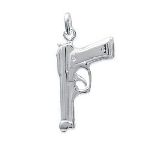 Pendentif revolver en argent 925