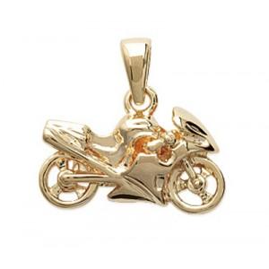 Pendentif moto en plaque or