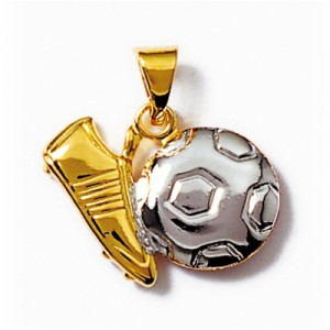Pendentif football en plaque or