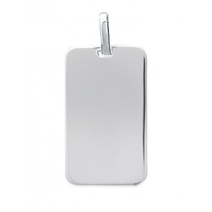 Pendentif plaque rectangle grand modele en argent 925