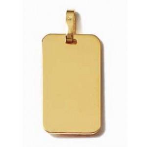 Pendentif plaque rectangle grand modele en plaqué or