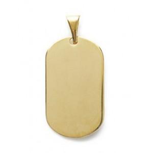 Pendentif plaque ovale grand modèle en plaqué or